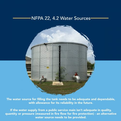 NFPA 22 water source requirements for water tanks