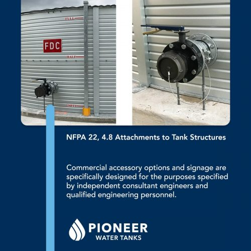 NFPA fire protection water tank attachments