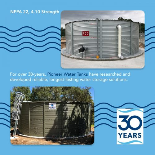 Strength of Pioneer Water Tanks for fire protection